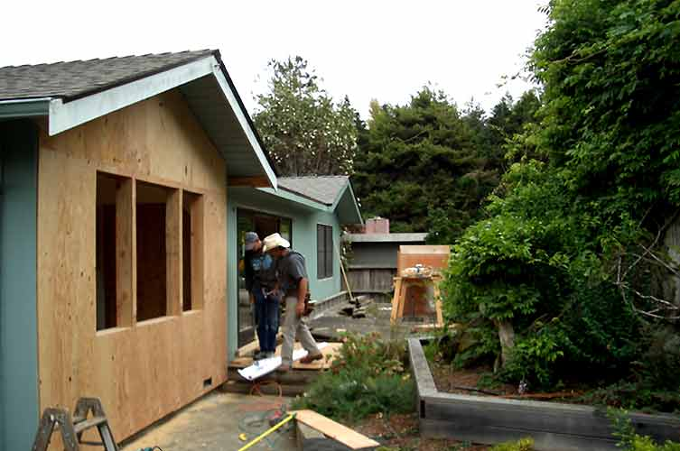 Above are photos of an addition  greenhouse  cedar siding  sheetrock  a  pergola  bathroom with an alcove of shelves in the shower  another bathroom. Remodeling Projects in Eureka  Ca addition  bath  kitchen  windows